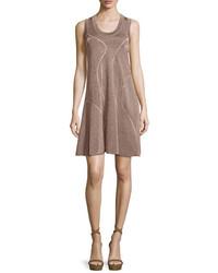 M Missoni Metallic Sleeveless Racerback Dress Bronze