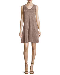 M Missoni Metallic Sleeveless Racerback Dress Bronze