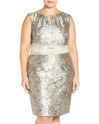 Ellen Tracy Plus Size Metallic Jacquard Sheath Dress