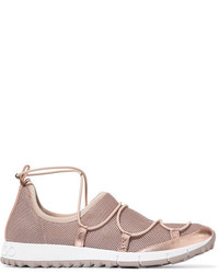Jimmy Choo Andrea Metallic Leather Trimmed Mesh Slip On Sneakers Gold