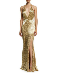 Alexandra Vidal Metallic Hand Beaded Halter Gown Gold