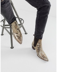 Jeffery West Sylvian Cuban Boots In Gold Snake