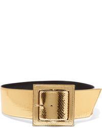 Saint Laurent Metallic Python Waist Belt Gold