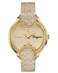 Salvatore Ferragamo Diamond Snakeskin Strap Watch 38mm