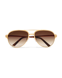 Cartier Eyewear Aviator Style Gold Plated And Textured Leather Sunglasses