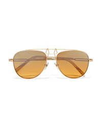 Calvin Klein 205W39nyc Aviator Style Gold Tone And Acetate Mirrored Sunglasses