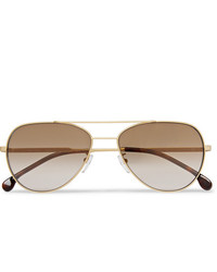 Paul Smith Aviator Style Gold Tone And Tortoiseshell Acetate Sunglasses
