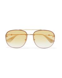 Gucci Aviator Style Gold Tone Sunglasses