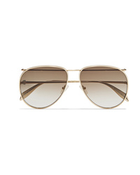 Alexander McQueen Aviator Style Gold Tone Sunglasses