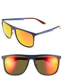 Carrera Eyewear 58mm Mirrored Retro Sunglasses Blue Matte Blue Red Mirror