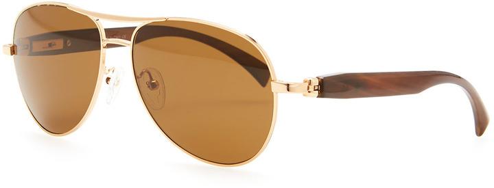 8db23e7941 Brioni Metal Horn Polarized Round Sunglasses Golden