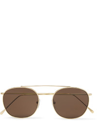 Illesteva Mykonos Round Frame Gold Tone Sunglasses