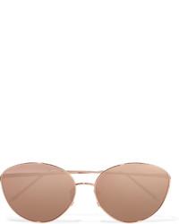 Linda Farrow Round Frame Rose Gold Plated Mirrored Sunglasses