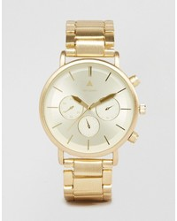 Asos Bracelet Watch In Brushed Gold
