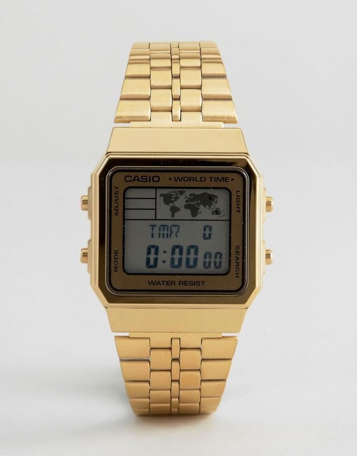 Casio World Map Watch.Casio Digital Map Watch In Gold A500wga 1df 60 Asos Lookastic Uk