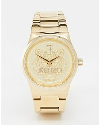 Kenzo Gold Small Tiger Head Watch