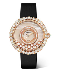 Chopard Happy Dreams 36mm 18 Karat Gold Satin Diamond And Mother Of Pearl Watch