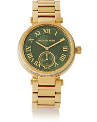 Michael Kors Michl Kors Skylar Crystal Embellished Gold Plated Watch