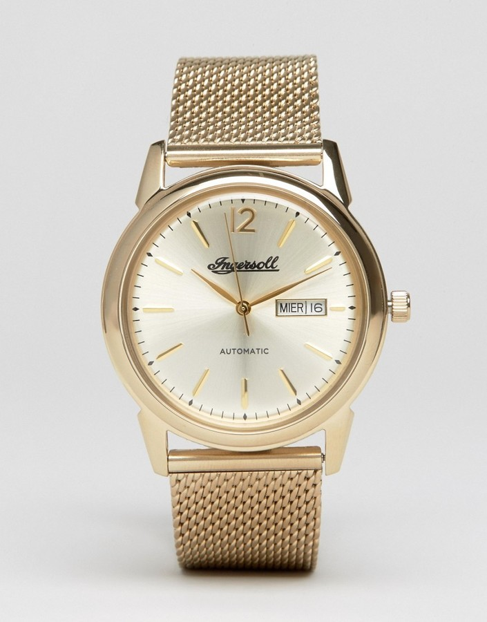 ... Ingersoll New Haven Automatic Mesh Watch In Gold ... a5fd0b1be2f