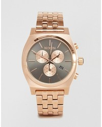 Nixon Time Teller Chronograph Watch In Rose Gold