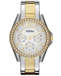 Fossil Riley Round Crystal Bezel Bracelet Watch 38mm
