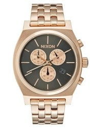 Nixon Time Teller Chronograph Watch All Rose Gold Colouredgunmetal