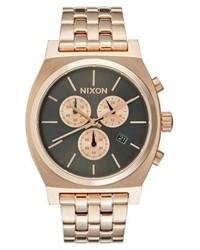 Nixon Time Teller Chronograph Watch All Rose Gold Colouredgunmetal