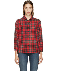 Green and Red Plaid Dress Shirt