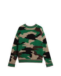 Green Camouflage Crew-neck Sweater