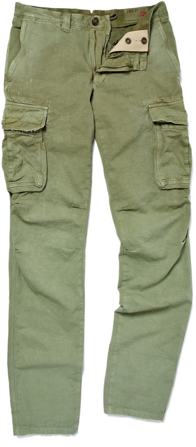 ... Incotex Slim Fit Cotton And Linen Blend Cargo Trousers ...