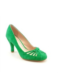 Green Cutout Suede Pumps