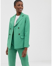 ASOS DESIGN Double Breasted Suit Blazer In Sage