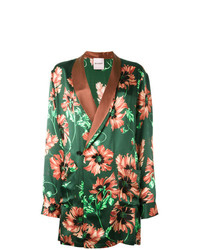 Palm Angels Floral Print Blazer Green