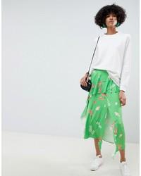 ASOS DESIGN Slinky Floral Print Midi Tea Skirt With Frill