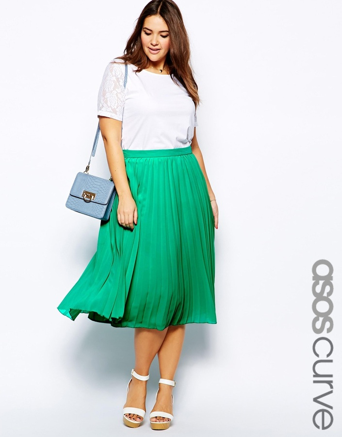 80715f799 Asos Curve Curve Midi Skirt With Pleats Navy, £44 | Asos | Lookastic UK