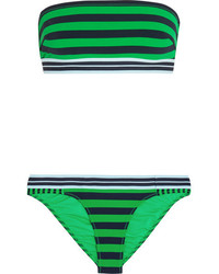 Stella McCartney Calypso Striped Bandeau Bikini Bright Green