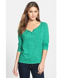 Caslon Tie Front Henley Tee Green Heather Oatmeal Stripe Small