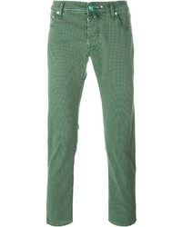 Jacob Cohen Checked Pattern Slim Fit Jeans