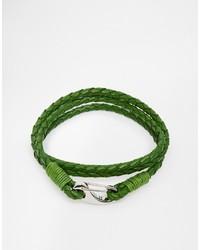 Plaited leather wrap bracelet medium 263252