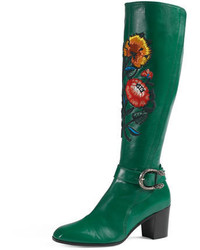 Green Leather Knee High Boots