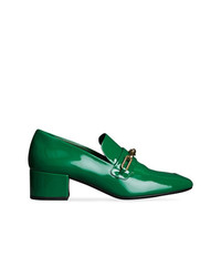 Burberry Link Detail Patent Leather Block Heel Loafers