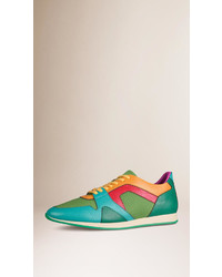 Green Leather Low Top Sneakers