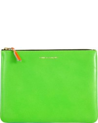 Green Leather Zip Pouch