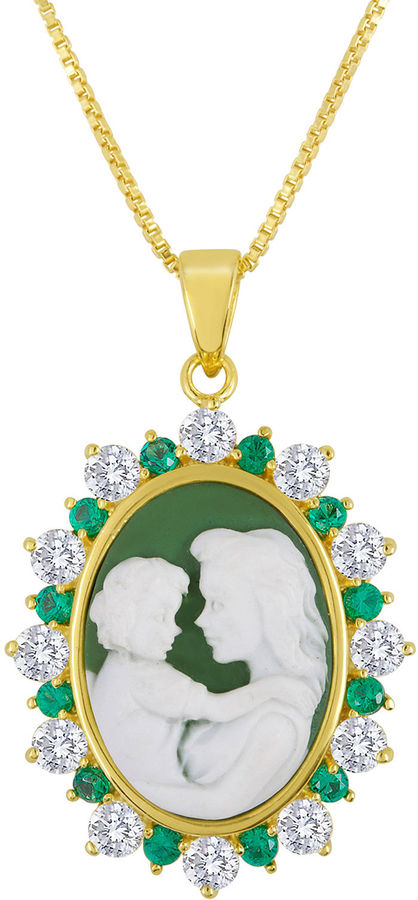 Jcpenney fine jewelry lab created emerald and white sapphire mom and jcpenney fine jewelry lab created emerald and white sapphire mom and baby cameo pendant necklace mozeypictures Image collections