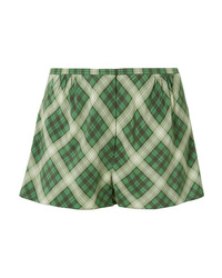 Marc Jacobs Plaid Washed Silk Shorts