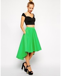 Asos Midi Skirt In Scuba With Dipped Hem