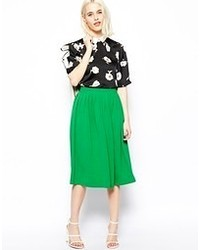 Woven midi vintage skirt green medium 55792
