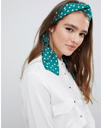 ASOS DESIGN Twist Block Headscarf In Green And Pink Spot