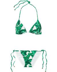 Dolce & Gabbana Printed Triangle Bikini Jade