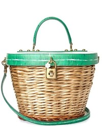 Dolce & Gabbana Banana Leaf Print Leather And Wicker Basket Bag